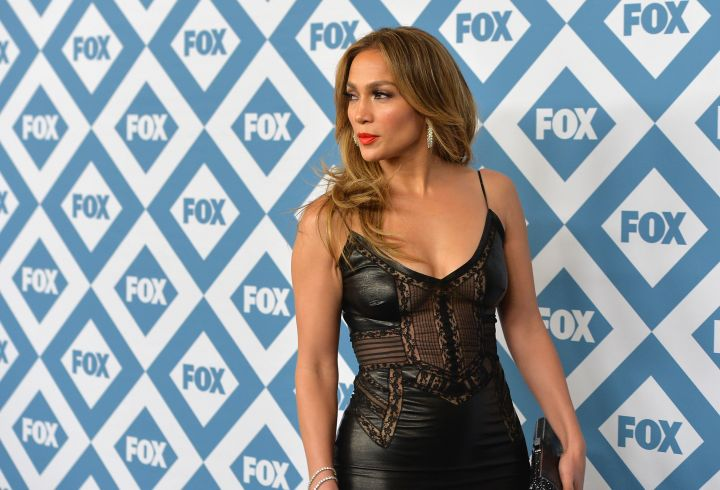 Whoa! Jennifer Lopez stuns in this leather little black dress at the Fox All-Stars Party.