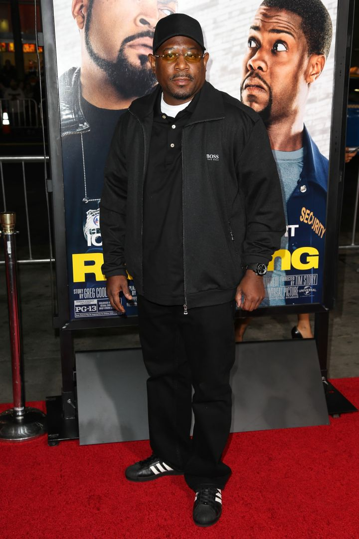 "Martin Lawrence makes an appearance in all black everything at the L.A. premiere of ""Ride Along."""