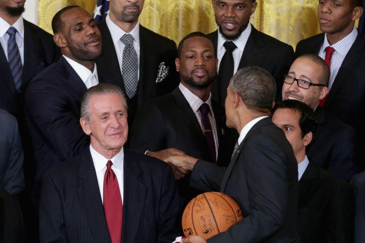 King James and President Obama shake hands during the event.
