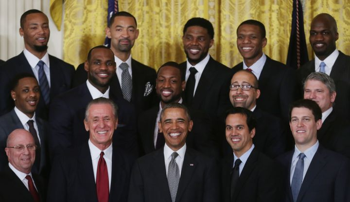 The Miami Heat is all smiles with President Obama during their second trip to the White House.