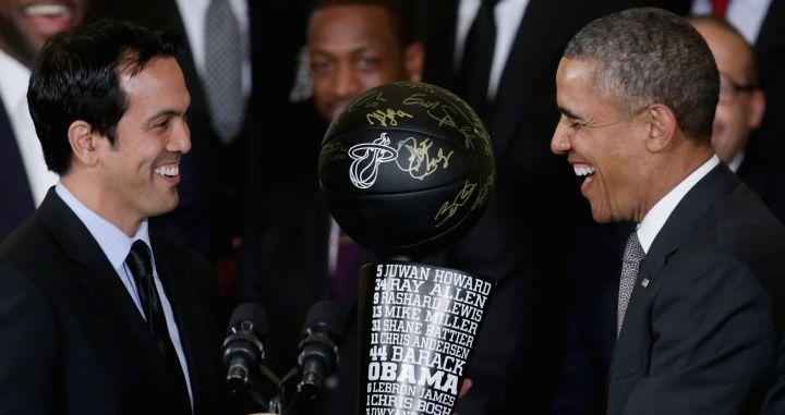 Miami Heat coach Erik Spoelstra has a moment with President Obama.