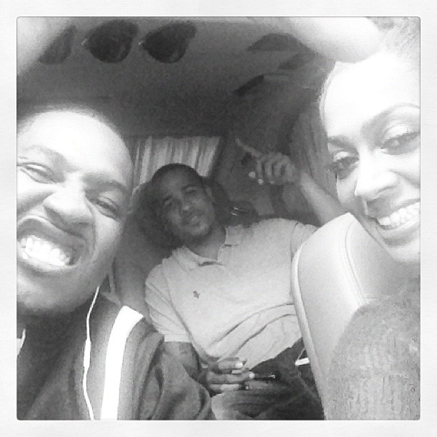 La Familia: Carmelo makes a funny face in this selfie with LaLa & her bro.
