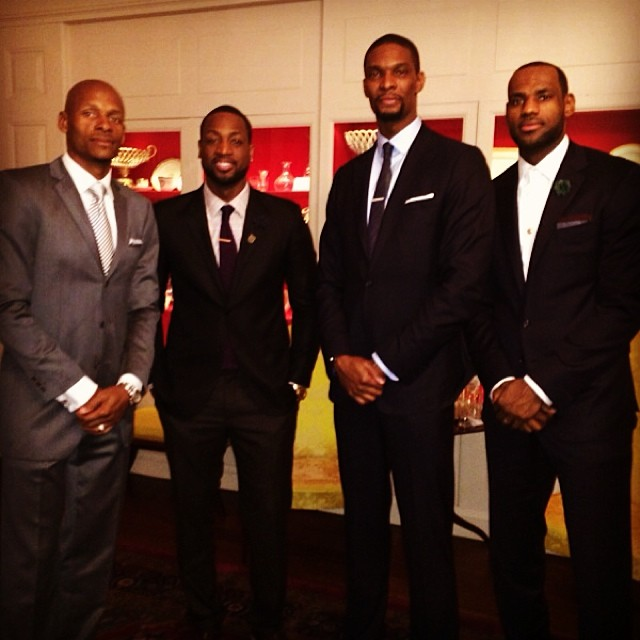 The fellas clean up nice! The Miami Heat strike a pose before meeting with President Obama at the White House.
