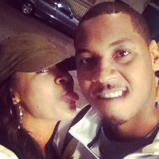 La La Anthony and her husband Carmelo Anthony get silly for the camera.