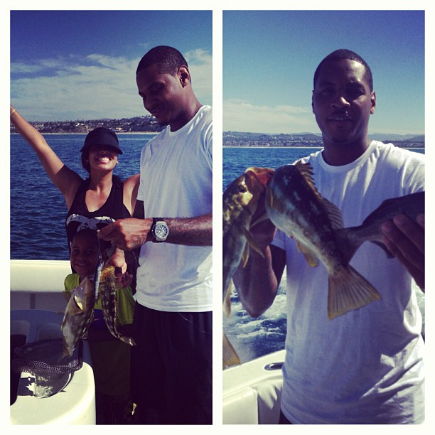 We did it! Carmelo claims to have caught fish with his bare hands and his wifey jumps for joy at his accomplishment.