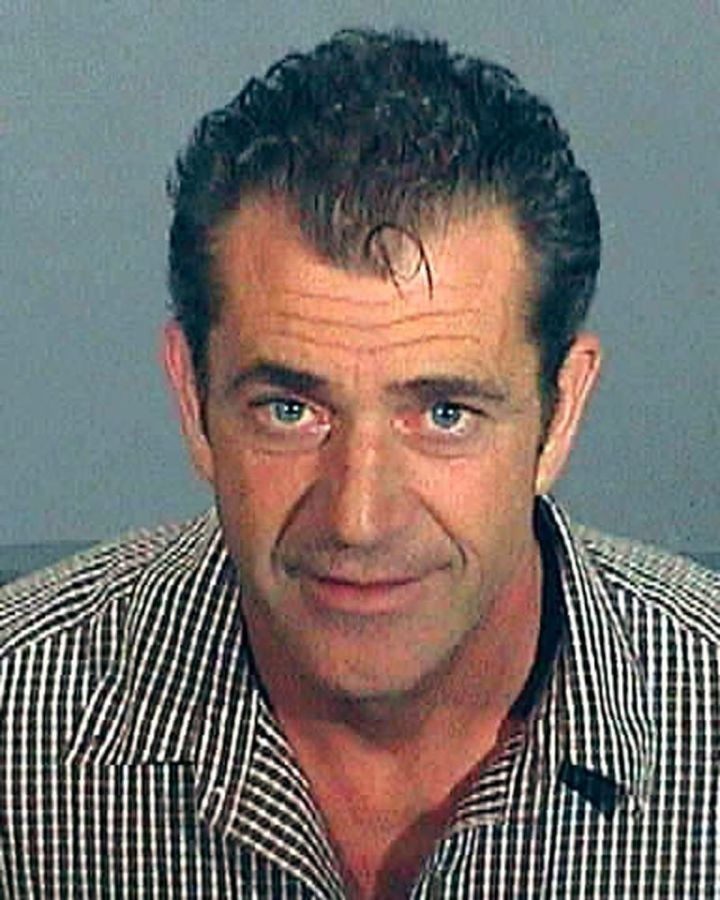 Mel Gibson's 2006 police mugshot after he was arrested for drinking and driving.