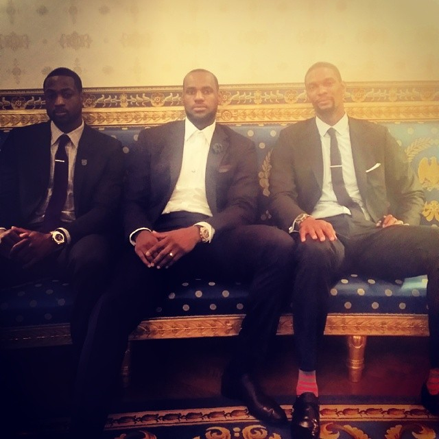 LeBron James, Chris Bosh and Dwyane Wade chill out before meeting with President Obama.