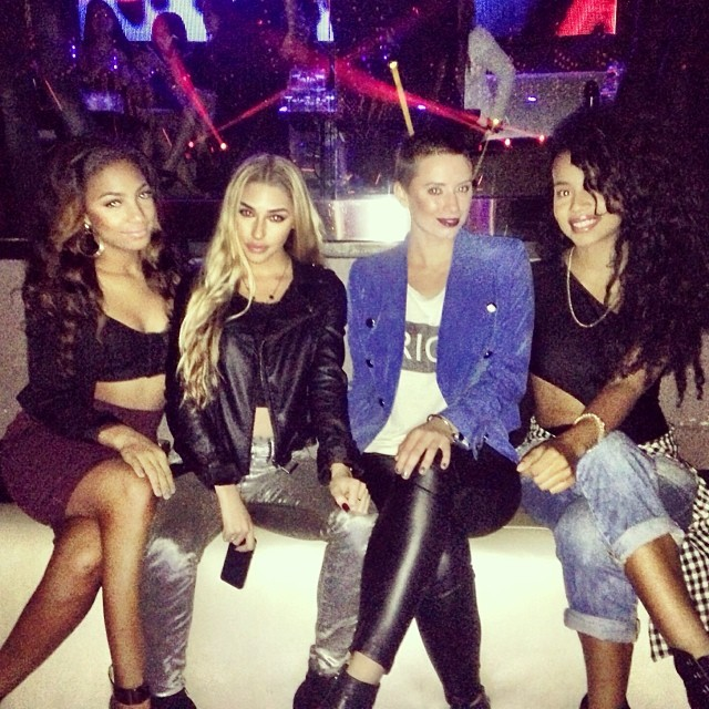 Kicking it in VIP with her friends.