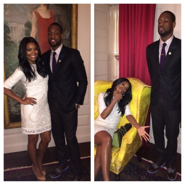 Gabrielle Union shares a pic with her fiance Dwyane Wade at the White House.