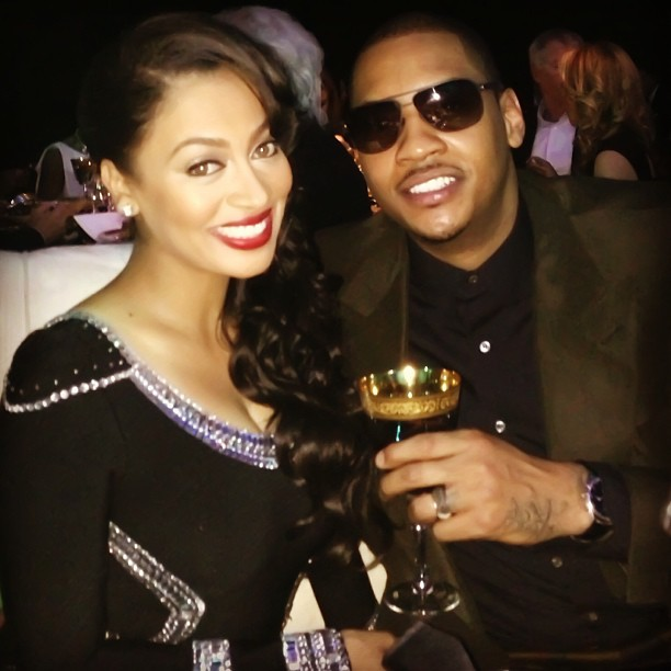 Flawless! LaLa & Melo look supe happy together while celebrating Jordan's 50th birthday!