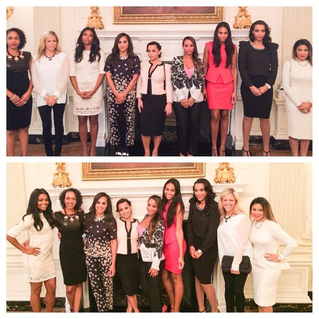 Basketball wives strike a pose at the White House.