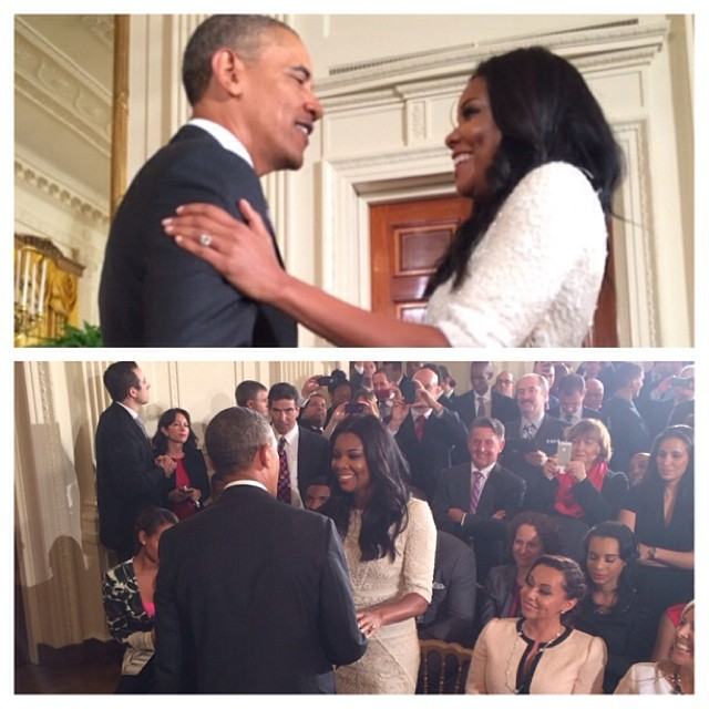 """Never. Gets. Old. … AND our President asked me about #beingmaryjane !!!! Told him was on tonight at 10!! Lol"" Gabby captioned for her trip with the Miami Heat to the White House."