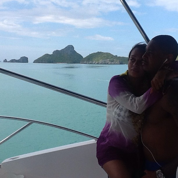 Yacht Life! LaLa holds on to her hubby.