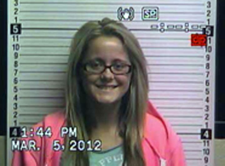 """Teen Mom"" star Jenelle Evans' mugshot after she was arrested by police for allegedly cyberstalking."