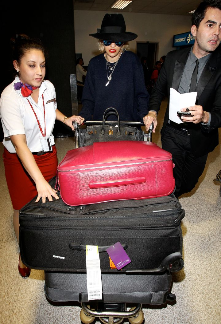 Rita Ora touches down in L.A. in style – and with lots of baggage.