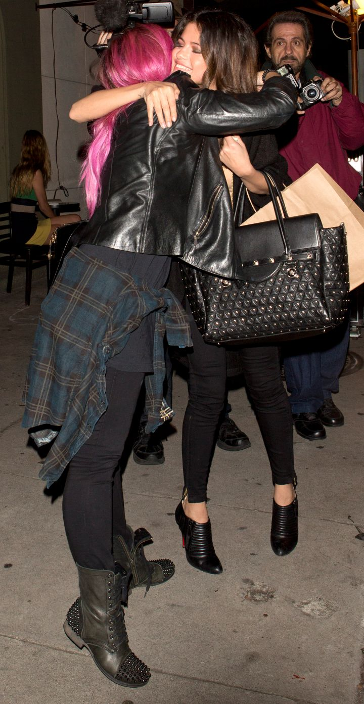 Besties! A pink haired Demi Lovato & Selena Gomez had a BFF dinner date at Craig's Restaurant.