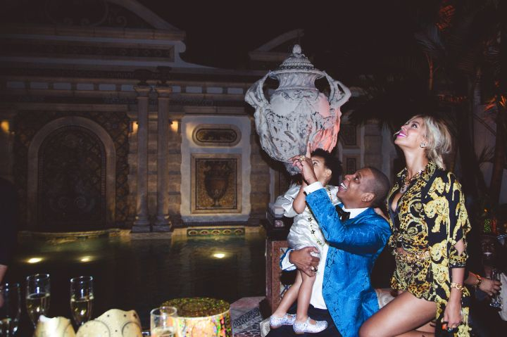 jay z holding blue ivy carter with beyonce new years eve party 2013