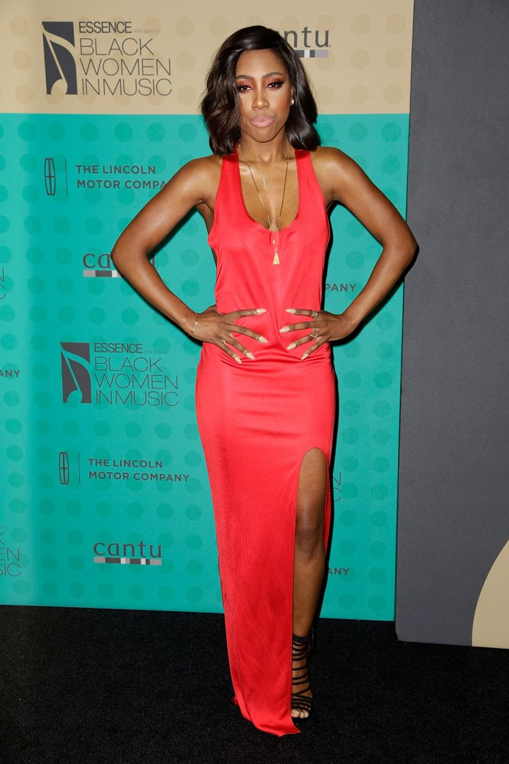 Sevyn Streeter rocks a sexy red gown at the 5th Annual ESSENCE Black Women In Music event at 1 OAK.