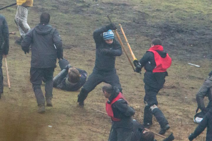"""Watch me do this: Michael Fassbender is spotted practicing a very intense scene from the new movie """"Macbeth."""""""