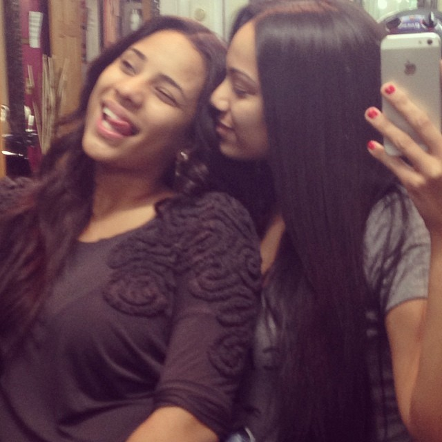 Erica shows her girl some selfie love.