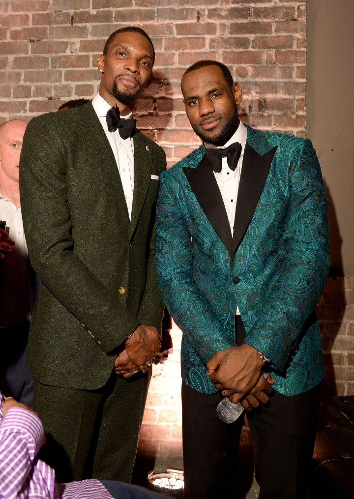 Chris Bosh and LeBron James at the GQ All-Star Party