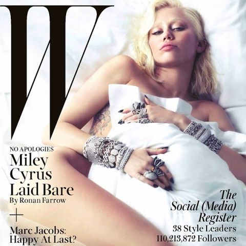 miley cyrus w magazine cover nude naked bleached eyebrows