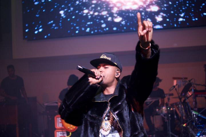 Nas performing at the Hennessy Super Bowl After-Party at Spring Studios in NYC.
