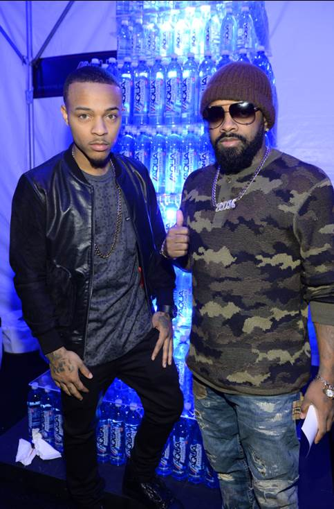 """Jermaine Dupri and Bow Wow posed for a quick picture at MAXIM Magazine's """"Big Game Weekend"""" presented by Talent Resources Sports sponsored by Patron Tequila and AQUAhydrate on Saturday."""