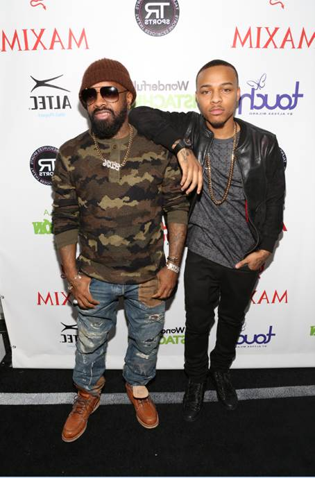 """Bow Wow and Jermaine Dupri posed for a quick picture at Talent Resources Sports MAXIM Magazine's """"Big Game Weekend"""" sponsored by Patron Tequila and Wonderful Pistachios at Espace in New York."""