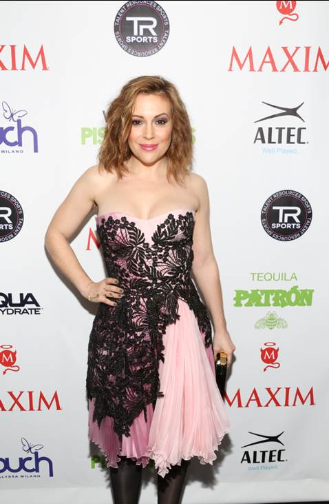 """Alyssa Milano looked stunning at Talent Resources Sports presents MAXIM Magazine's """"Big Game Weekend"""" sponsored by Patron Tequila, AQUAhydrate, and Touch by Alyssa Milano."""