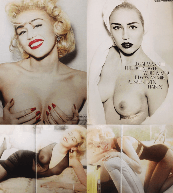 Miley Cyrus went completely topless for Vogue Germany.