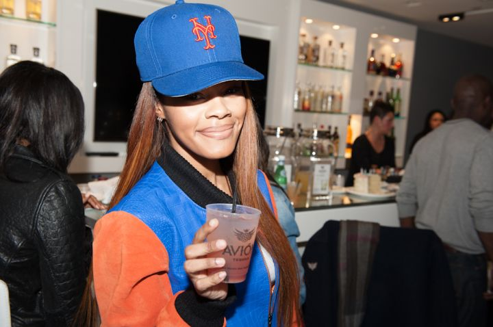 G.O.O.D. Music's Teyana Taylor reppin' the New York Mets at the #JeezyBowl party.