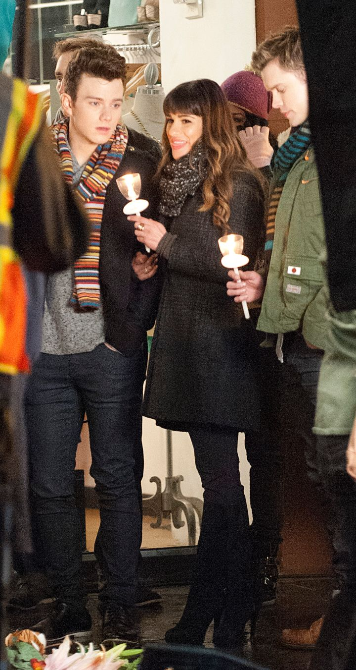 """How pretty is she? Lea Michele was spotted on the set of """"Glee"""" in Downtown L.A."""