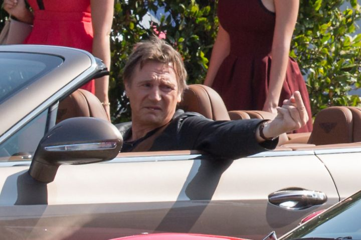 """Liam Neeson didn't give two f*cks as he filmed """"Entourage"""" in West Hollywood."""