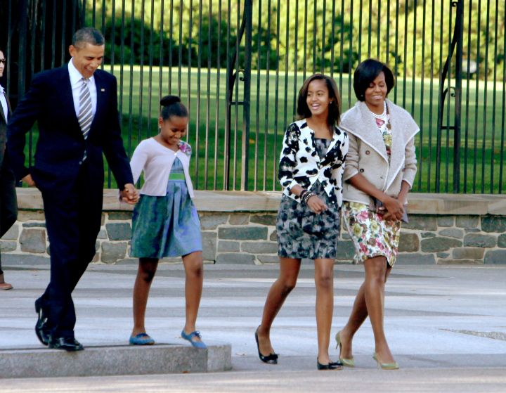 The First Family goes to church in florals.