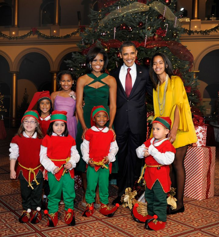 More jewel tones from the Obamas during Christmastime.