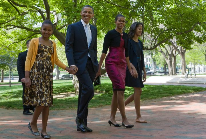 The Obamas get all dressed up for Easter service.