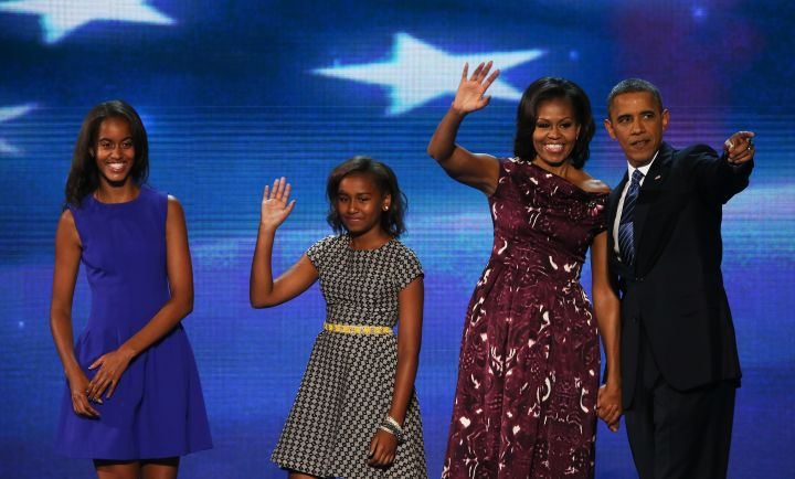Malia in H&M, Sasha in Anthropologie and Michelle in Laura Smalls on the night of Barack's nomination.