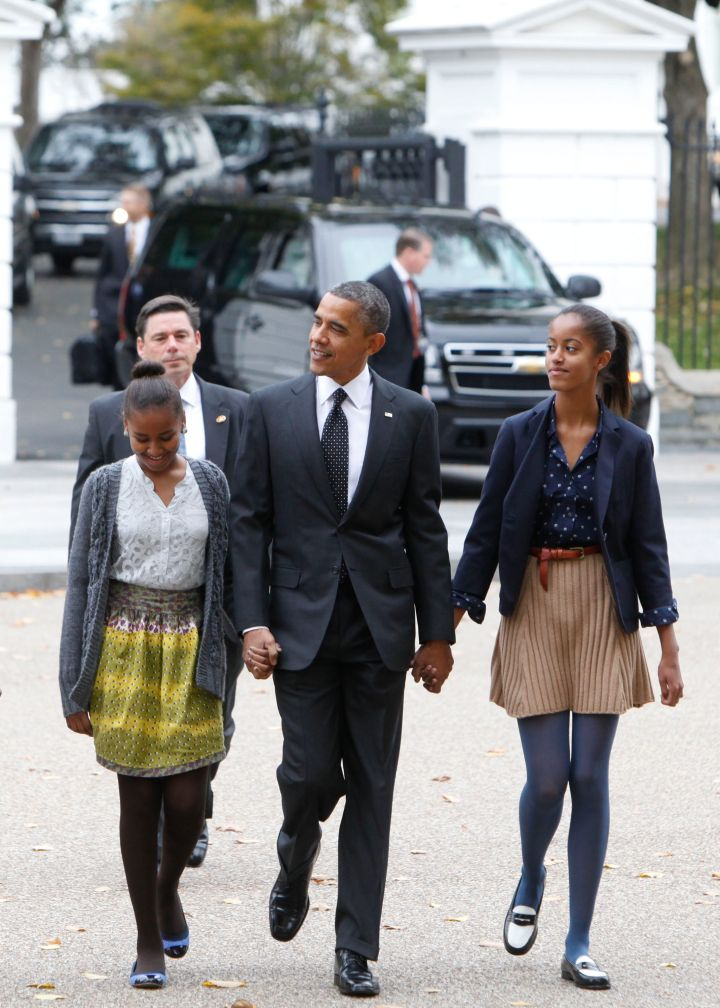 Sasha and Malia play with patterns and attend church with the President.
