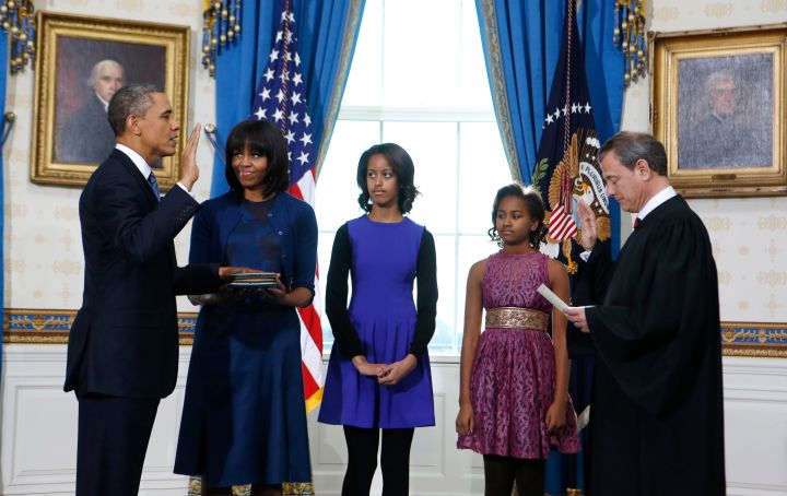 Mrs. O wears Reed Krakoff, Malia colorblocks and Sasha is precious in a belted dress to witness Barack swear-in.