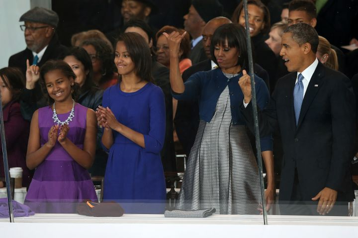 The Obamas at the Inaugural Parade held after the swearing-in ceremony.