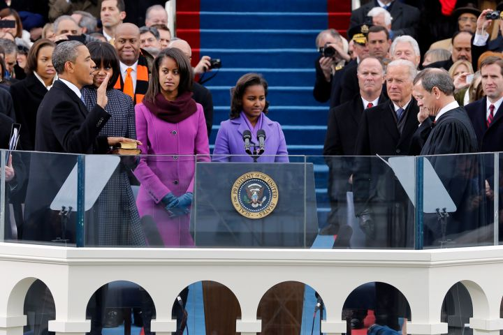 That one time Malia and Sasha matched to witness Obama's inauguration for his second term.