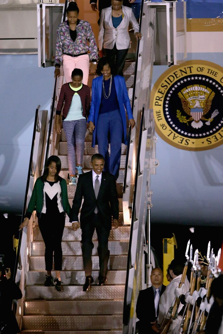 The Obamas are fresh off a jet for a South-African tour.