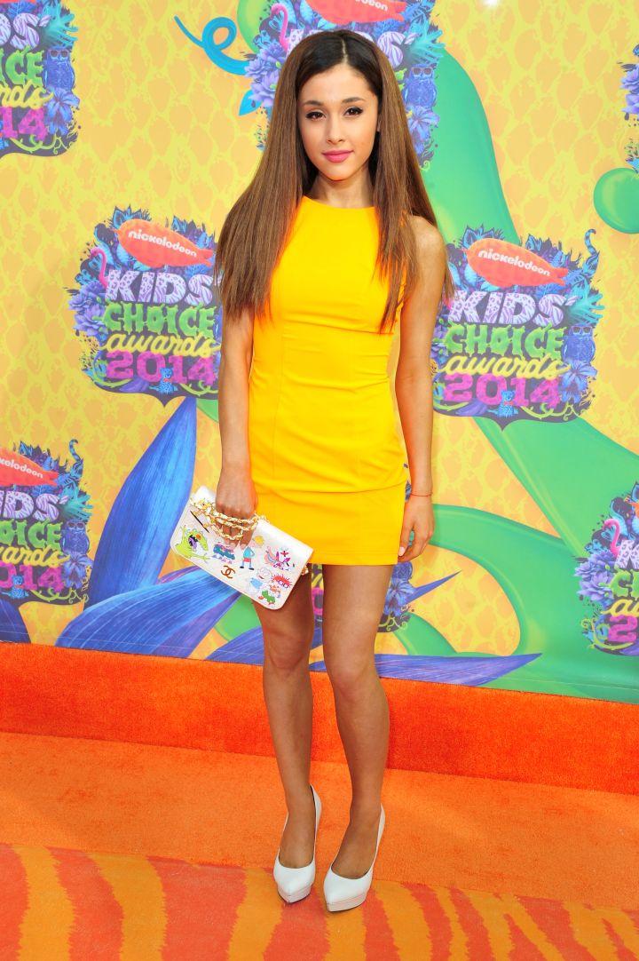 Ariana Grande in Aiisha Ramadan and a Rugrat Chanel clutch