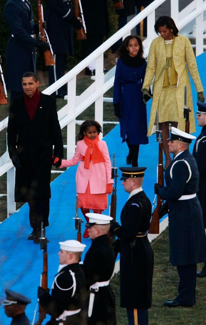 The Obamas coordinate their own colors as Barack is sworn-in for his first term.