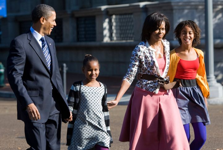 Patterns and colors collide with the Obamas.