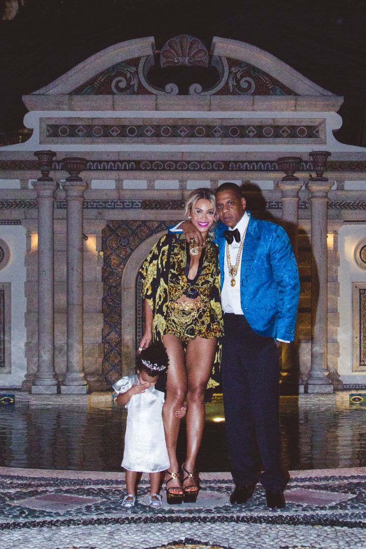 The Carters brought their baby girl out to enjoy the Versace Mansion on New Year's Eve.