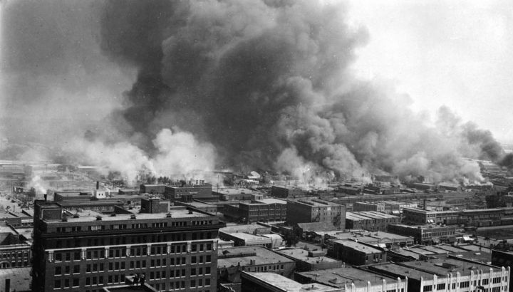 A Building Burns In Tulsa