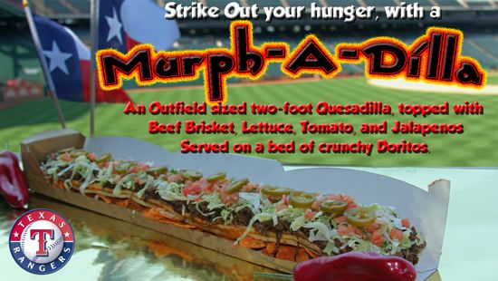 The Murph-A-Dilla is a 24-inch long beef brisket quesadilla. Clearly it's meant for sharing, but you probably won't.