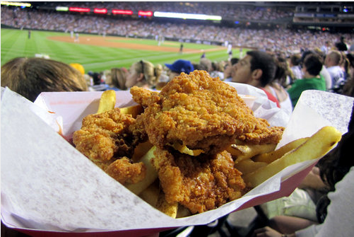 "The Rocky Mountain Oysters at Coors Field in Denver are probably the biggest culprit of false advertising. ICYDK, these ""oysters"" are actually fried bull testicles. Bon appetit."
